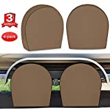 """RVMasking Tire Covers for RV Wheel Set of 4 Heavy Duty 600D Oxford Motorhome Wheel Covers, Waterproof PVC Coating Tire Protectors for Trailer Truck Camper Auto, Fits 24""""-26.5"""" Tire Diameters"""