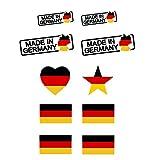 Allemagne Tattoo, Tattoo Sticker, étoile, coeur, fabriqué en Allemagne, Olympia et Em Fan 2016–Allemagne Article de Fan