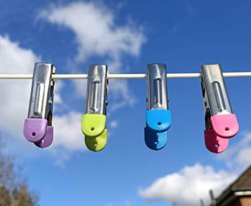 80 clavijas de acero inoxidable para lavandería mantenga la ropa apretada en las líneas de lavado en el jardín, agarre de almohadilla de plástico para guardar ropa delicada de Staines longitud 6 cm