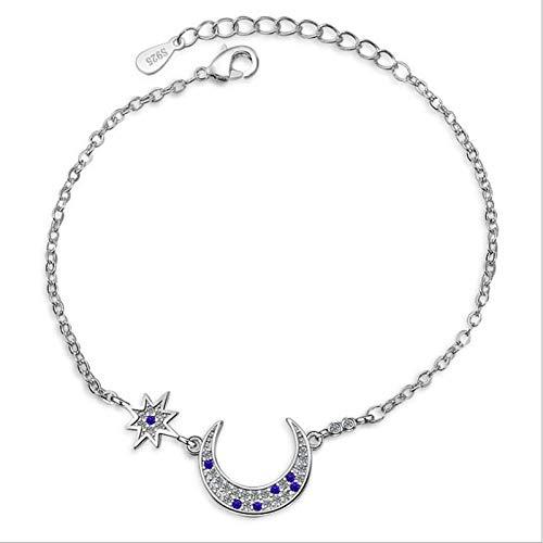 WQZYY&ASDCD Bijoux Bracelet Femme Charme Argent Femmes Bracelets Accessoires Blue Star Moon Girl Bracelets De Cheville Bracelets Lady Party Bijoux