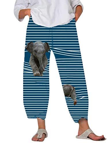 Minetom Damen 7/8 Jogginghose Haremshose Baggy Mit Taschen Pumphose Sommerhose Leichte Yoga Freizeithose Tierdruck Strand Hose A Blau Elefant L