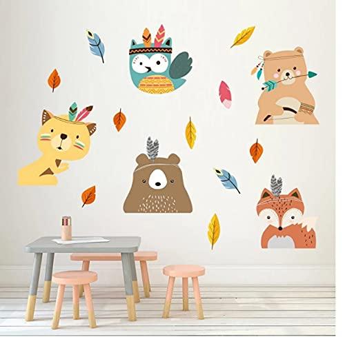 Estilo Indio Animal Fox Diy Pegatinas De Pared Habitación De Los Niños Dormitorio Mural Calcomanías Pvc Kindergarten Decoración Del Hogar Wallpaper17 * 74cm