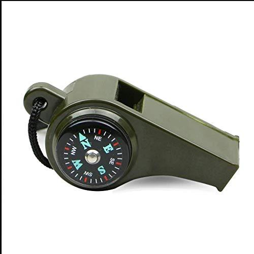 WYJW kompas 3 in 1 pijp buiten met thermometer nylon nek rope kompas voor multifunctionele survival camping wandelen toebehoren 1 navigatie (kleur: ArmyGree