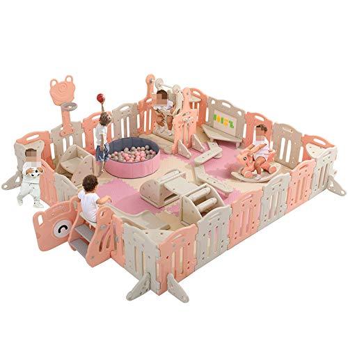 GTRR Corralito para bebés Interior Casa para niños Corralito para bebés y niños pequeños Estera para Gatear Parque de Atracciones Barandilla Columpio para niños,180 * 150