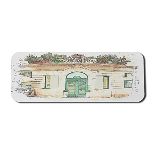 Ambesonne Watercolor Mouse Pad for Computers, Painting of a Traditional Old Architecture in Prague in The Czech Republic, Rectangle Non-Slip Rubber Gaming Mousepad Large, 31' x 12', Multicolor
