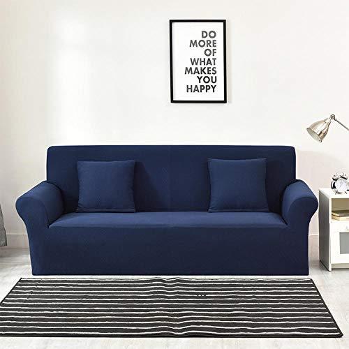 Funda Elástica de Sofá,Funda de sofá jacquard gruesa de color puro, funda protectora antideslizante elástica para muebles, funda de cojín antiincrustante para sofá de sala de estar-Azul marino_235-30