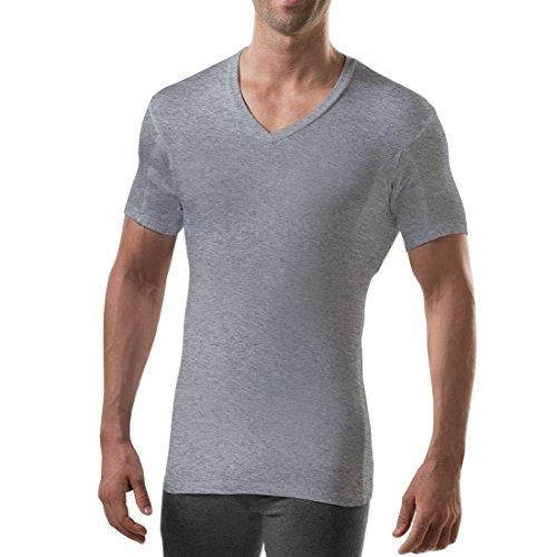 Sweatproof Undershirt for Men with Underarm Sweat Pads (Slim Fit, V-Neck) Heather Grey