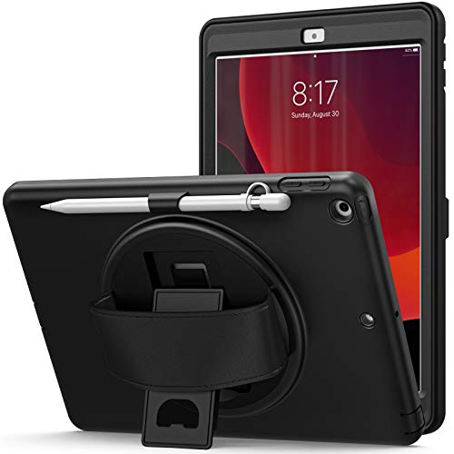 QYiD iPad 9.7 inch 2017/2018 Case/iPad Air/Air 2 Case, Heavy Duty Shockproof Case with Swivel Handle Stand/Pencil Holder/Hand Strap for iPad 5th/6th Gen/iPad Air 1/2,iPad Pro 9.7, Black
