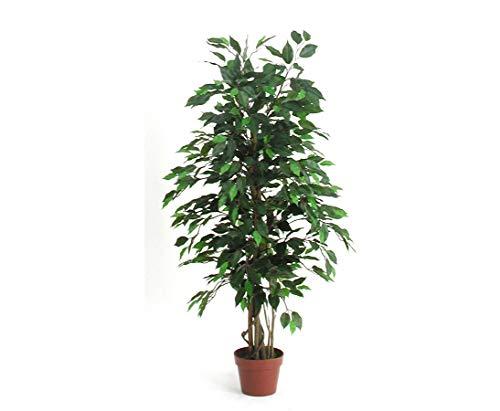 kunstpflanzen-discount.com Ficus Kunstbaum 125cm mit 654 grüne Blätter und Naturstämme