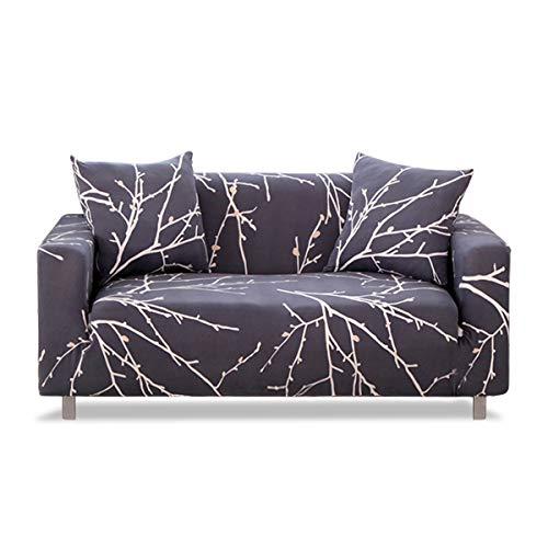 Fashion·LIFE 3 Plazas Funda de Sofá Elástico sofá Cubierta Floral Print Funda Protectora sofá Pantalla Tejido de Poliéster Suave,Gris