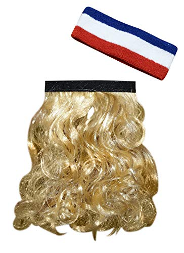HandinHand Creations The Blonde Magic Mullet Wig with USA Headband Attaches to Any Headwear Hillbilly Redneck Costume