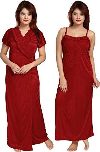 Bombshell Women's Satin Nighty with Robe 2 Pcs Night wear...