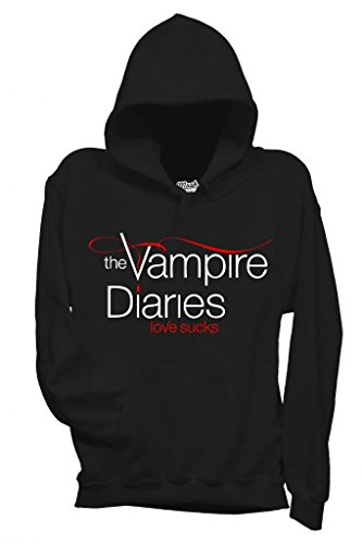 MUSH Sweatshirt Kapuzen Vampire Diaries Love Sucks - Film by Dress Your Style - Damen-S Schwarz