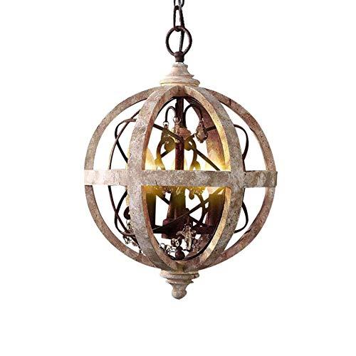 Waqihreu Lámparas de araña de Madera industriales Vintage Modernas, E14, iluminación Colgante de Globo de Hierro Forjado, 3 Luces de Techo Ajustables, Accesorios para Sala de Estar