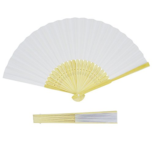 Grosun 50 Packs White Bamboo Folding Fan Handheld Fan Paper Folded Fan for Wedding Party and Home Decoration