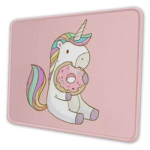 Rainbow Unicorn and Doughnut Gaming Mouse Pad with Stitched Edges, Customized Rectangle Mousepad Non-Slip Rubber Base for Computer Laptop Office Accessories 9.5 x 7.9 Inch