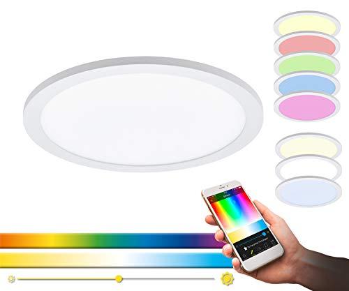 EGLO connect LED Deckenleuchte SARSINA-C Panel, Smart Home Deckenlampe, Material: Aluminium, Kunststoff, Farbe: Weiß, Ø 300 mm, inkl. Fernbedienung, dimmbar, Weißtöne und Farben einstellbar
