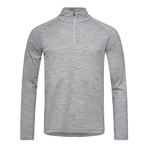 Super.natural Tee-shirt Manches Longues pour Hommes, Laine mérinos, M BASE 1/4 ZIP 175, Taille: S, Couleur: Gris chiné