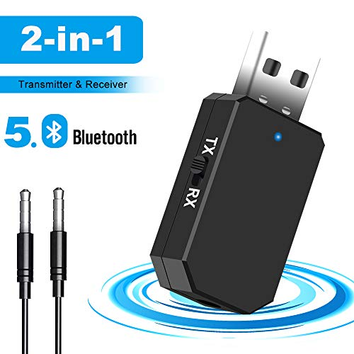 TouchSKY Adattatore Bluetooth USB,2 in 1 Trasmettitore Ricevitore V5.0 con 3.5mm AUX Wireless Bluetooth Adattatore per TV/PC/Telefoni/Altoparlanti/Aut