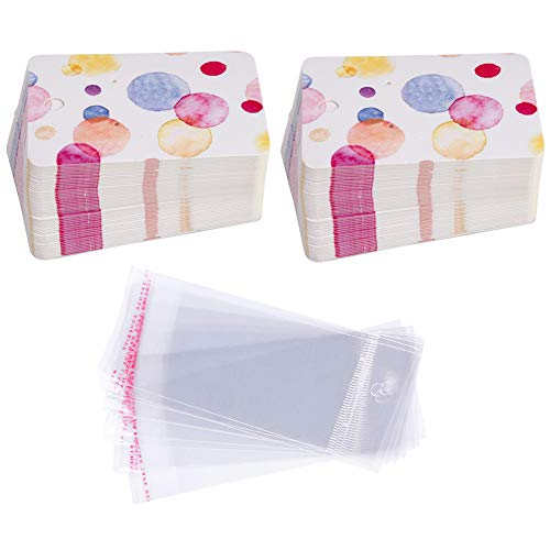 Earring Cards Set, 100 Pcs Paper Earring Display Cards with 100 Pcs Self-Seal Bags, Fashion Colorful Card Holder Organizer Tags DIY Handmade Packing Cards for Earring Stud Necklace (Color Dot)