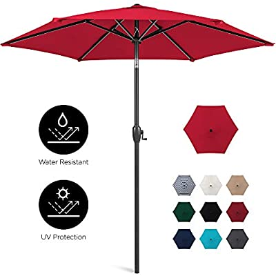 Best Choice Products 7.5ft Heavy-Duty Outdoor Market Patio Umbrella w/Push Button Tilt, Easy Crank Lift, Red