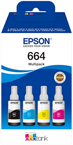 Epson Ecotank - Botellas de tinta, Multicolor (Cian / negro / magenta / amarillo)