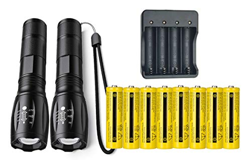2PCS LED Super Bright 2000 Lumens Flashlight And 8PCS Rechargeable 18650 3.7V High Capacity Batteries with 4 Bay Battery Charger,Waterproof 5 Modes & Zoom for Camping, Hiking and Emergency
