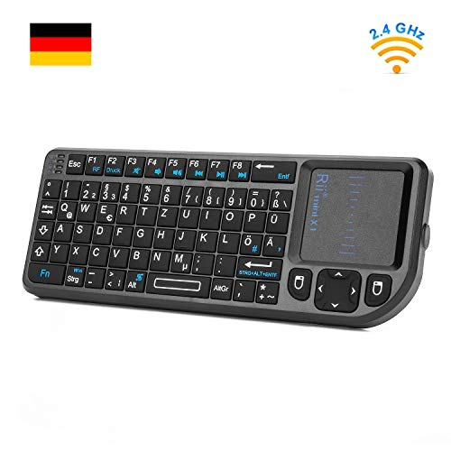Rii X1 Mini Tastatur Wireless, Smart TV Tastatur, Kabellos Tastatur mit Touchpad, Mini Keyboard für Smart TV Fernbedienung/PC/PAD/Xbox 360/ PS3/Google Android TV Box/HTPC/IPTV (De Layout)