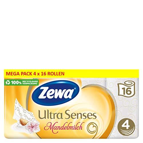 Zewa Deluxe Mandelmilch Toilettenpapier, verwöhnendes WC-Papier 4-lagig mit mildem Mandelduft, 4 x Vorratspack mit 64 Rollen (4 x 16 Rollen)