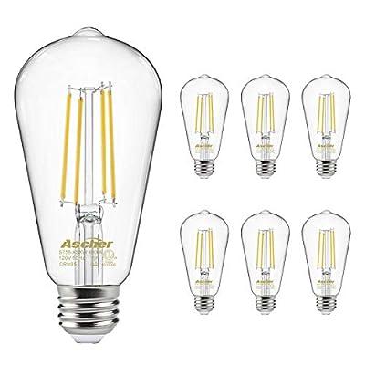 Vintage LED Edison Bulbs 60 Watt Equivalent, Eye Protection Led Bulb with 95+ CRI, High Brightness Daylight White 4000K, ST58 Antique LED Filament Bulbs, E26 Medium Base, Non-Dimmable, Pack of 6
