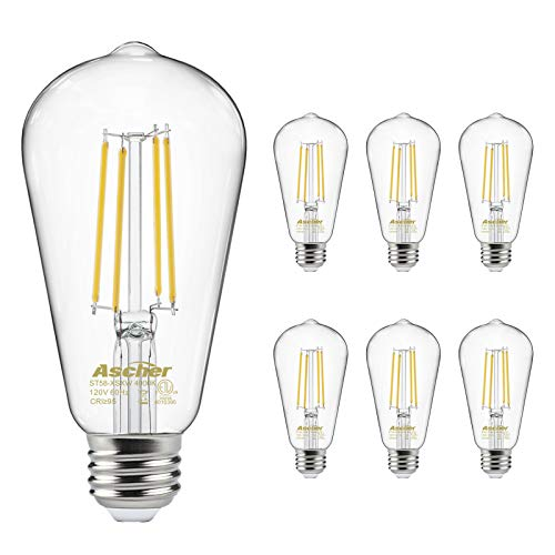 Vintage LED Edison Bulbs 60 Watt Equivalent, Eye Protection Led Bulb with 95+ CRI, High Brightness Daylight White 4000K, ST58 Antique LED Filament Bulbs, E26 Medium Base, Non-Dimmable, Pack of 6