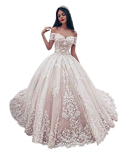 PD Women's Wedding Ball Gown Elegant Off Shoulder Sweetheart Appliques Lace Wedding Dress Bridal Gown Blush Pink