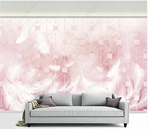 Papel De Pared 3D Tela No Tejida Papel Pintado Fondo De Arte De Pluma Geométrica Rosa Papel Pintado Pared Mural Decorativo Salón Dormitorio 350x245cm