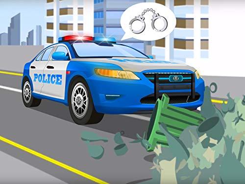 Das Polizeiauto und das rote Rennauto