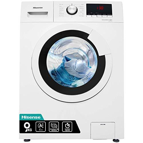 Hisense WFHV9014 - Lavadora Carga Frontal 9 Kg, Essencial, 1400 RPM, 15 Programas, Color Blanco, Gran Display LED, Lavado rápido, Bloqueo Infantil