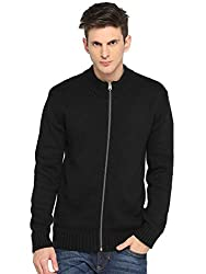 Goat Mens Solid Hi-Neck Full Zipper Cardigan