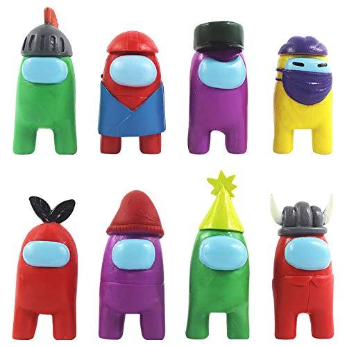 8 piezas de juguete Among Us, mini figuras de juegos lindas, juguetes de colección, muñecas extraíbles, decoraciones de escritorio, regalos para fanáticos de los juegos, niños y adultos (8 estilos)