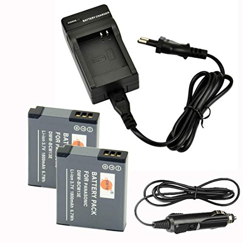 DSTE®(2 Pack) Ersatz Batterie und DC145E Reise Ladegerät Compatible für Panasonic DMW-BCM13E DMW-BCM13PP Lumix DMC-TS5 DMC-TZ40 DMC-TZ41 DMC-ZS27 DMC-ZS30 DMC-ZS35 DMC-ZS45 DMC-ZS50 DMC-TS6 Kamera