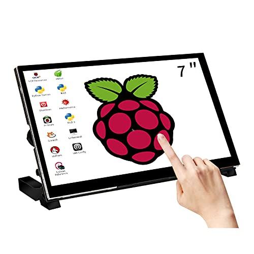 WIMAXIT Raspberry Pi - Monitor de pantalla táctil de 7 pulgadas (1024 x 600 USB, HDMI, IPS, 178 °, con altavoces traseros y soporte...