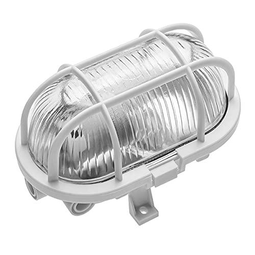 CGC - Plafoniera ovale in vetro, in metallo, resistente alle intemperie, per interni, esterni, giardino, portico, garage, patio, impermeabile