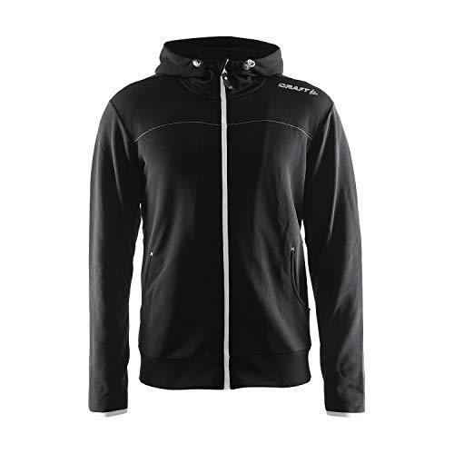 Craft Herren Sweatshirt Leisure Full Zip Hood, Black-Silver, XL