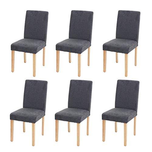 Mendler 6X Esszimmerstuhl Stuhl Küchenstuhl Littau ~ Textil, anthrazitgrau, helle Beine