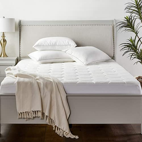 Zen Bamboo Mattress Pad Cover - Queen Size, White - Cooling, Waterproof Bed Topper with Deep Pockets