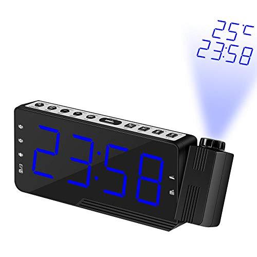 FPRW projectielamp, radio, FM-klok, projectie-configuratie, tijdloze klok, instelling van de helderheid van het scherm, voor de slaapkamer, blauw