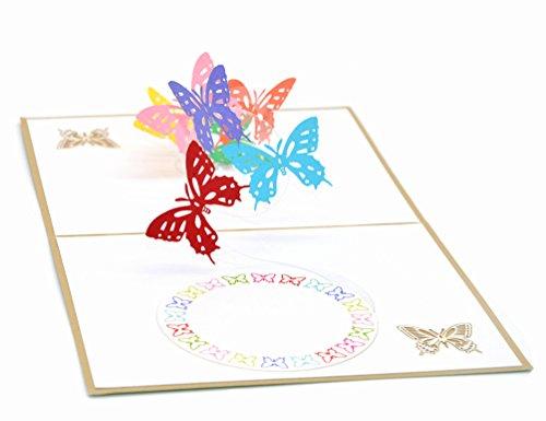 Medigy Carte d'Anniversaire Faite à Main 3D Pop Up Kirigami Creux Papillon Pliable Carte Postale de Voeux pour Anniversaire Mariage Saint Valentin avec Enveloppe