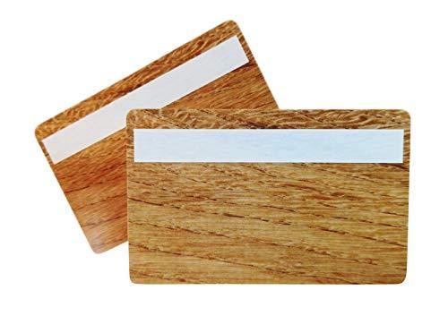 Plastic kaarten in houten design met handtekenveld|1-100 stuks|Blanco onbewerkte ringen | NIEUW! 85 x 54 x 0,76 mm hout