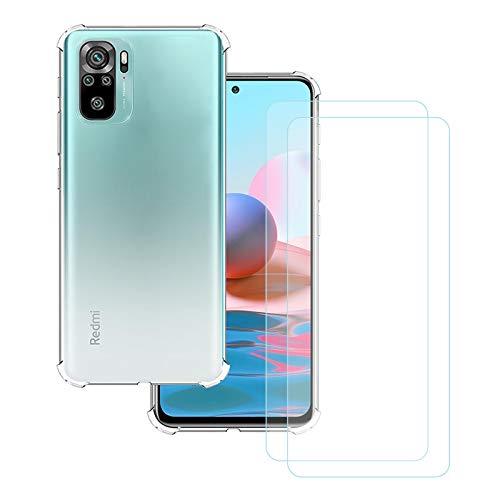 KZIOACSH Funda para Xiaomi Redmi Note 10 + [2 Pack] Cristal Templado,Ultra Fina Silicona TPU Carcasa,Cuatro Esquinas Anti-caíd Protección,Transparente