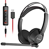 XIBERIA USB Headset/3.5mm Computer Headset with Microphone Noise Cancelling,Comfort-fit Office Computer Headphone for Skype/Webinar, Lightweight,270°Rotate MIC, in-line Control with Mute
