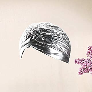 WTYD Fashion Accessories Holiday Stretchy Turban Head Wrap Band Sleep Hat Ear Cap(Red) Accessories (Color : Silver)