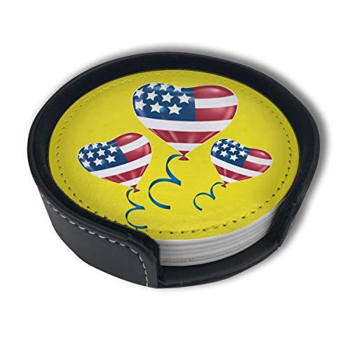 BJAMAJ Untersetzer, Motiv: USA-Flagge, Luftballon-Clipart aus hochwertigem PU-Leder, rund, mit Halterungen, geeignet für Zuhause und Küche, 6 Stück